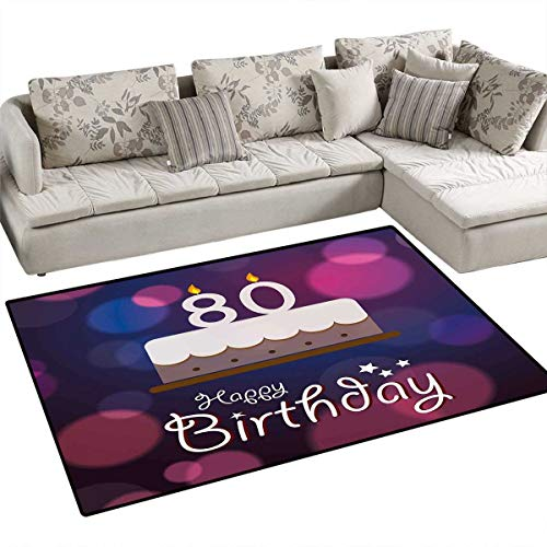 - 80th Birthday Bath Mats for Floors Abstract Style Backdrop with Birthday Party Cake and Candles Print Door Mat Indoors Bathroom Mats Non Slip 3'x5' Purple Pink and Lilac