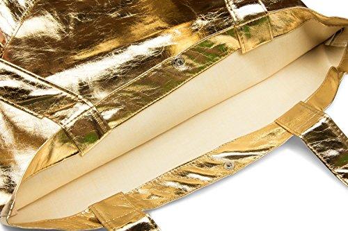 styleBREAKER bolsa de tela con apariencia metálica con cierre de botón a presión, bolsa, bolsa de tela, bolso, unisex 02012208, color:Dorado metálico Dorado metálico