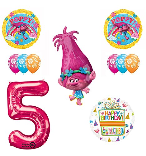 TROLLS 5th Birthday Party Supplies and Poppy Balloons Bouquet Decoration