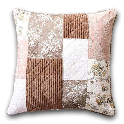 (DaDa Bedding Bohemian Euro Pillow Sham - Patchwork Dusty Rose Mauve Pink & Chocolate Brown Floral - 26