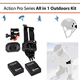 Clearmax 2 Pack of High Capacity Batteries For GoPro HD HERO3 and GoPro AHDBT-201, AHDBT-301 Plus Pro Series Curved Helmet & Arm Mounts for GoPro HERO