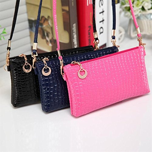 Handbag Bags pink Crossbody blue Clutch Women size one Shoulder Crocodile Brezeh Messenger Leather 4w78qnCxY
