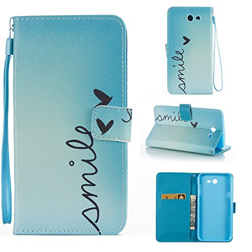 For Samsung Galaxy J7 2017 Case Wallet, J7 Perx Case, J7 Prime Case, J7 V Case, Galaxy J7 Sky Pro Case,Galaxy Halo Case,Voanice PU Leather Flip Protective Cover Card Slots and Stand Cases&Stylus-Smile -