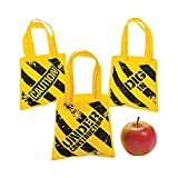 Fun Express - Mini Construction Zone Tote Bags for Birthday - Apparel Accessories - Totes - Novelty Totes - Birthday - 12 Pieces