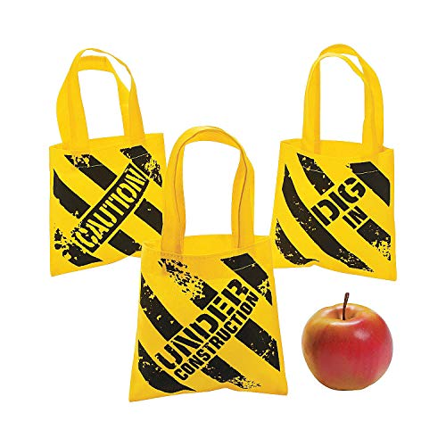 Fun Express - Mini Construction Zone Tote Bags for Birthday - Apparel Accessories - Totes - Novelty Totes - Birthday - 12 Pieces]()