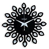 Random Clocks Jewel Leaf Round Wood Wall Clock (30 cm x 30 cm x 5 cm, Black, RC-0709 Black)