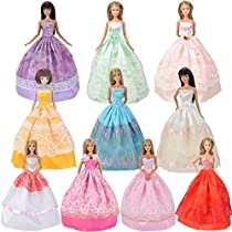 E-TING 5-Piece Random Princess Dress Set, Fashionista Clothing Outfits for Girl Dolls Vintage Toy Doll Clothes