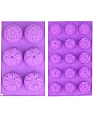 Saivan (2-Pack) Silicone Soap Mold Flower Lotion Bar Making Mold Handmade Craft Soap Mould Cupcake Backing mold Muffin Pan – Two sizes of 4 Flower Pattern Chrysanthemum Rose & Sunflowers