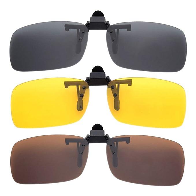 BOZEVON 3 Piezas Clip en la Lente Gafas de Sol Polarizadas y Gafas de Visión Nocturna - Anti Reflejante Protección UV400 para Hombres/Mujeres