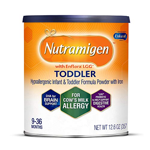 Enfamil Nutramigen Hypoallergenic Colic Toddler Formula Lactose Free Milk Powder, 12.6 ounce - Omega 3 DHA, LGG Probiotics, Iron, Immune Support