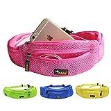 Ondoing Dog Treat Training Pouch with Poop Bag Dispenser Running Belt Waist Pack Fanny Pack Carries Treats Keys Cellphone Adjustable Waistband (Pink) For Sale