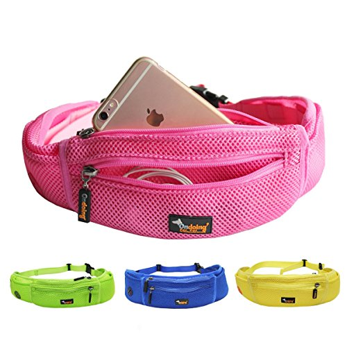 Ondoing Dog Treat Training Pouch with Poop Bag Dispenser Running Belt Waist Pack Fanny Pack Carries Treats Keys Cellphone Adjustable Waistband (Pink) For Sale