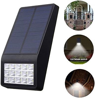 AREOUT 15 LED Lámpara de pared solar Seguridad jardín luz solar,impermeable panel solar motorizado luces,Iluminación toda la noche,Para jardín patio patio entrada muro exterior: Amazon.es: Iluminación