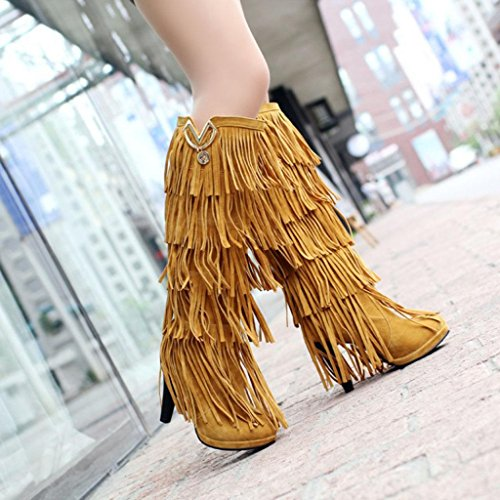 Large Boots Womens Boots Size Party Over Martin Fashion Taiwan The Yellow Knee Tassel Yellow Waterproof Thigh Banquet High Wedding Boots Kitzen OBwpf