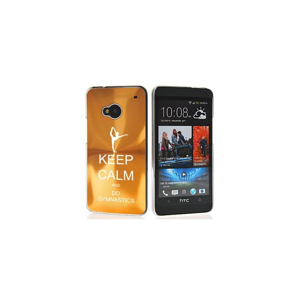 Gold HTC One M7 Sprint AT&T T Mobile Aluminum Plated Hard Back Case Cover 7M293 Keep Calm and Do Gymnastics Cell Phones & Accessories