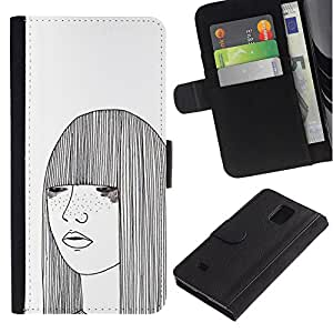KingStore / Leather Etui en cuir / Samsung Galaxy Note 4 IV / Art White Freckles Femme