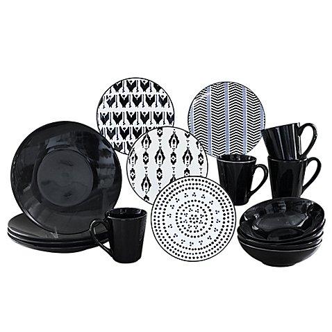 baum-ikat-16-piece-dinnerware-set-in-black