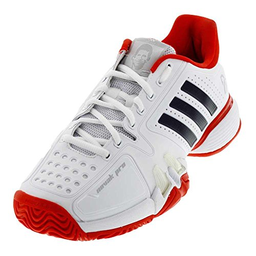 Adidas Mensen`s Novak Pro Synthetisch Tennisschoenen Wit En Kern Rood- (cg3081-f17) Wit / Navy / Rood