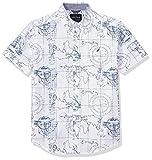Nautica Boys' Short Sleeve Printed Woven Shirt, Brookdale White, Small (8)