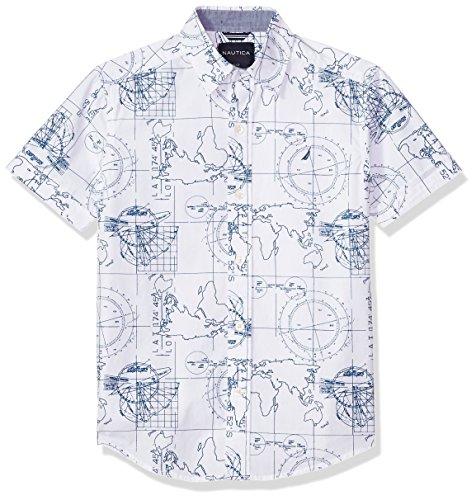Nautica Boys' Short Sleeve Printed Woven Shirt, Brookdale White, Medium (10/12)
