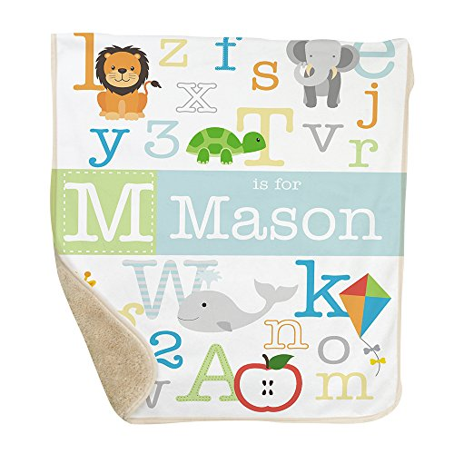 GiftsForYouNow Alphabet Personalized Sherpa Blanket for Baby Boy Abc Baby Blanket