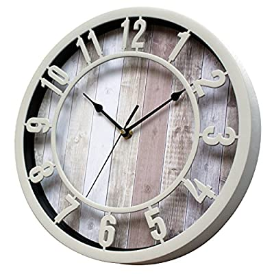 SUNBRIGHT 12 Inch Rustic Decorative Noiseless Wall Clock Silent Non-Ticking for Home, Office, School, Cream - Wall clock features cream Plastic round frame, and like natural solid wooden look printed background Large numerals and black analog contrast with background make you easy to read Quiet sweep second hand, no ticking for peace and quiet.Quartz movements guarantee an accurate time. - wall-clocks, living-room-decor, living-room - 51krbiG3V%2BL. SS400  -