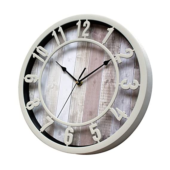 SUNBRIGHT 12 Inch Rustic Decorative Noiseless Wall Clock Silent Non-Ticking for Home, Office, School, Cream - Wall clock features cream Plastic round frame, and like natural solid wooden look printed background Large numerals and black analog contrast with background make you easy to read Quiet sweep second hand, no ticking for peace and quiet.Quartz movements guarantee an accurate time. - wall-clocks, living-room-decor, living-room - 51krbiG3V%2BL. SS570  -