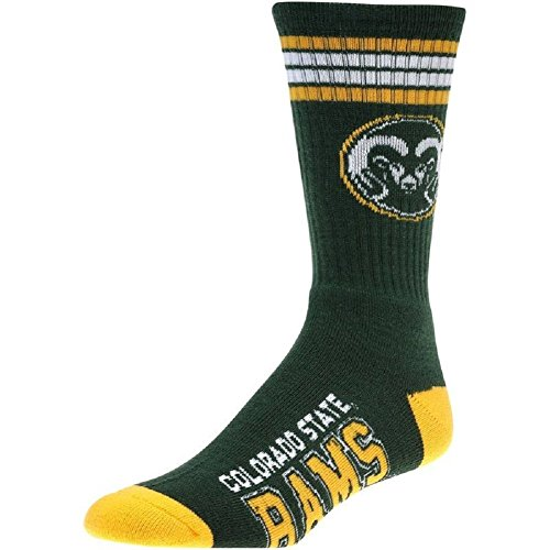 (For Bare Feet NCAA 4 Stripe Deuce Crew Men Socks-Colorado State)