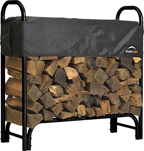 ShelterLogic Heavy Duty Firewood Rack with Cover, 4 ft.