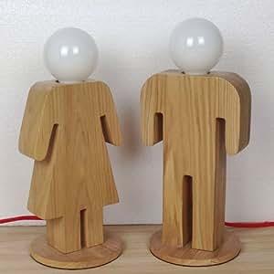 boy girl wooden table lamp. Black Bedroom Furniture Sets. Home Design Ideas