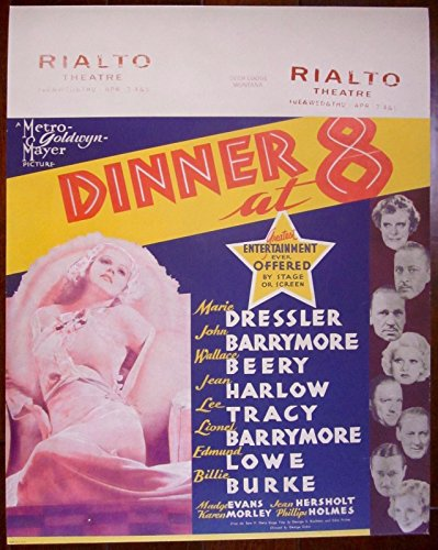 (DINNER AT 8 - ORIGINAL 1933 JUMBO WINDOW CARD POSTER - STAR STUDDED FILM SEXY)