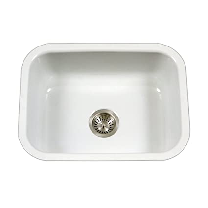 White Single Bowl Kitchen Sink.Houzer Pcs 2500 Wh Porcela Series Porcelain Enamel Steel Undermount Single Bowl Kitchen Sink White