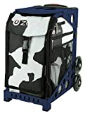 Zuca MÜCA Cow Print Sport Insert Bag and Navy Blue Frame with Flashing Wheels