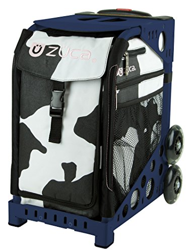 Zuca MÜCA Cow Print Sport Insert Bag and Navy Blue Frame with Flashing Wheels by ZUCA