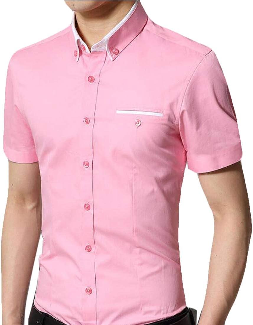 WSPLYSPJY Mens Summer Dress Shirt Cotton Short Sleeve Regular Fit Shirt