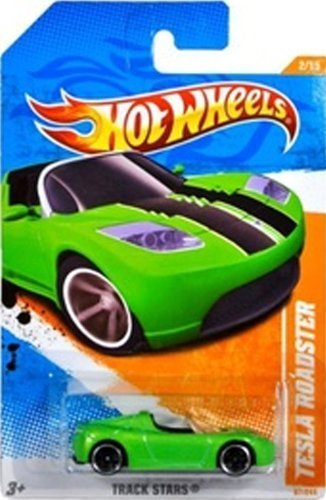 All Star Sports Collectibles - TESLA ROADSTER Hot Wheels 2011 Track Stars Series GREEN Tesla Roadster 1:64 Scale Collectible Die Cast Sports Electric Car #2/15