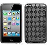 Premium Flexible TPU Soft Gel Skin Case for Apple iPod Touch 4th Generation / 4th Gen - Checkers Argyle Smoke Color Design