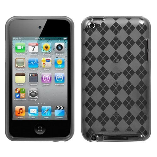 Premium Flexible TPU Soft Gel Skin Case for Apple iPod Touch 4th Generation / 4th Gen - Checkers Argyle Smoke Color Design 4th Generation Ipod Parts