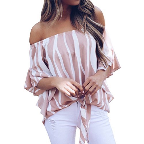 Poperdision Women's Casual Striped Off Shoulder Bell Sleeve Shirt Tie Knot Blouses Tops Pink XL