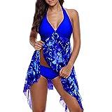 iZHH Women Print Swimwear Tankini Asymmetric Hem Halter Swimdress Beachwear(Blue,14)