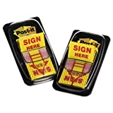 Case of 360 Packs,100 per pack, Post-it Flags,Arrow Message 1'' Page Flags, ''sign Here'', Yellow