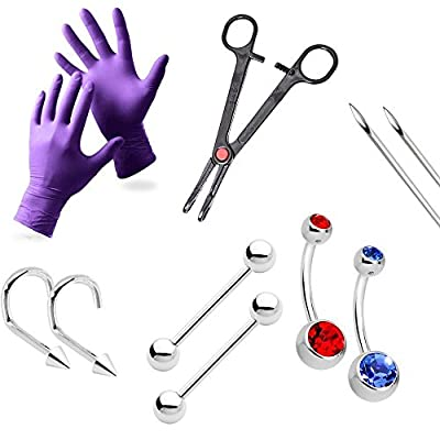 Piercing Kit For All piercings Solid Titanium Barbells With Tools Needles Gloves