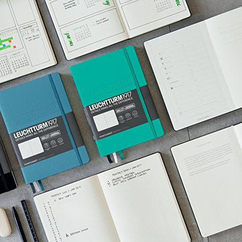 LEUCHTTURM1917 - Official Bullet Journal - Medium A5 - Hardcover Dotted Notebook (Emerald) - 240 Numbered Pages
