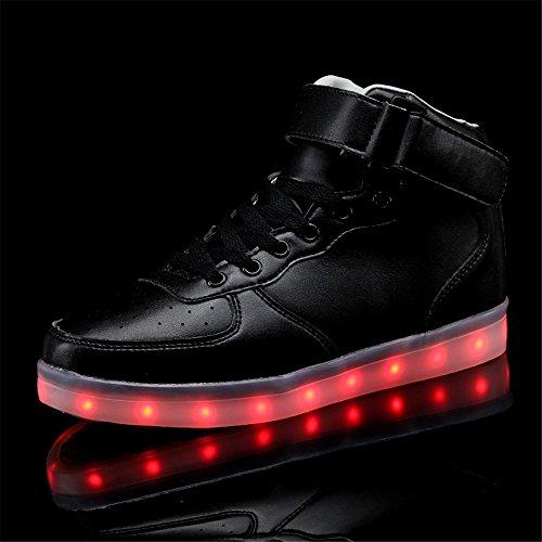 Annabelz Led Chaussures Haut Haut Hommes Femmes Allument Chaussures Usb Charge Clignotant Sneakers Or Argent Noir