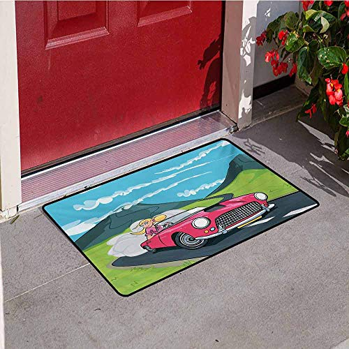 Jinguizi Cars Inlet Outdoor Door mat Blonde Girl Driving a Sports Car Through The Country in Cartoon Style Travel Road Trip Catch dust Snow and mud W35.4 x L47.2 Inch Multicolor ()