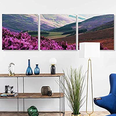 Made to Last, Beautiful Artisanship, 3 Panel Romantic Lavender Pictures Home Wall for Bedroom Living Room Paintings Framed 24 Panels