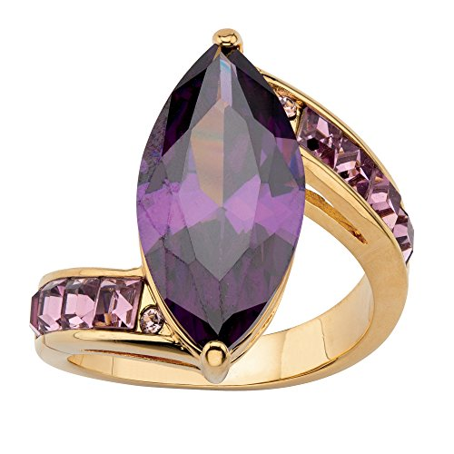 - Palm Beach Jewelry 14K Yellow Gold-Plated Marquise Cut Purple Cubic Zirconia and Princess Cut Lavender Crystal Ring Size 6