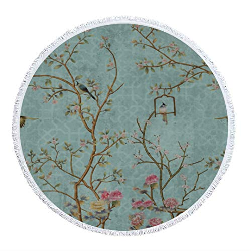 Thick Round Beach Towel Blanket 3d Wallpaper Design Little Flowers Birds Print Fringe Beach Mat Tapestry Shawl Circular Microfiber Terry Cloth Tassel Circle Carpet For Women Holiday Camping Yoga