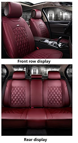 Red Leather Set - JOJOHON Luxury PU Leather Auto Car Seat Covers 5 Seats Full Set Universal Fit (Red Wine)