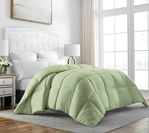 Beckham Hotel Collection Luxury 100% Egyptian Cotton Down Comforter - 70 oz Fill Weight, & 750 Fill Power - All Season Premium & Hypoallergenic Duvet Insert - Twin/Twin XL - Sage by Beckham Luxury Linens
